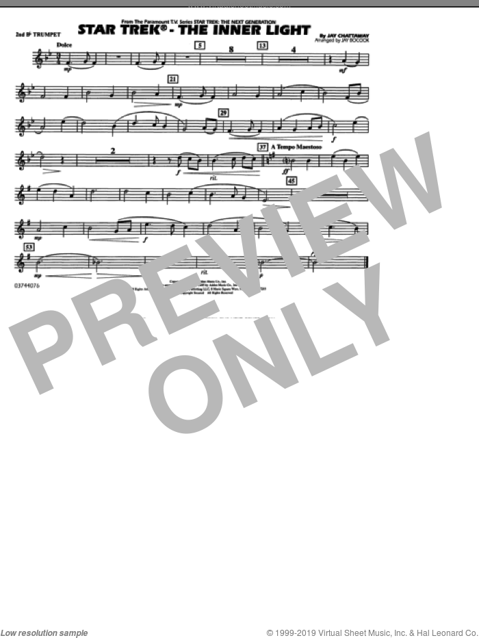 Star Trek, the inner light sheet music for marching band (2nd Bb trumpet) by Jay Chattaway