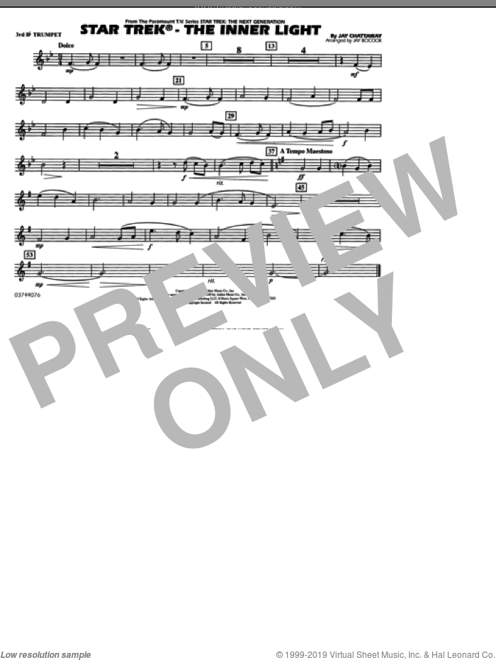 Star Trek, the inner light sheet music for marching band (3rd Bb trumpet) by Jay Chattaway