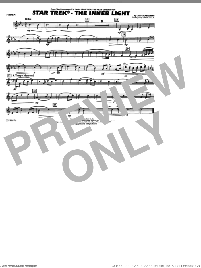 Star Trek, the inner light sheet music for marching band (f horn) by Jay Chattaway