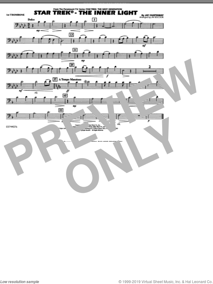 Star Trek, the inner light sheet music for marching band (1st trombone) by Jay Chattaway