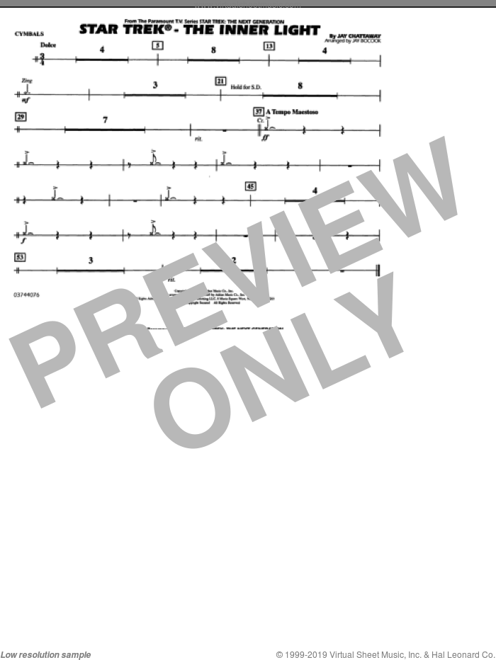 Star Trek, the inner light sheet music for marching band (cymbals) by Jay Chattaway