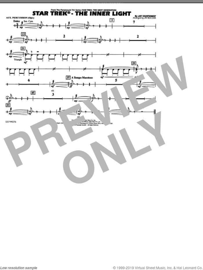 Star Trek, the inner light sheet music for marching band (aux percussion) by Jay Chattaway