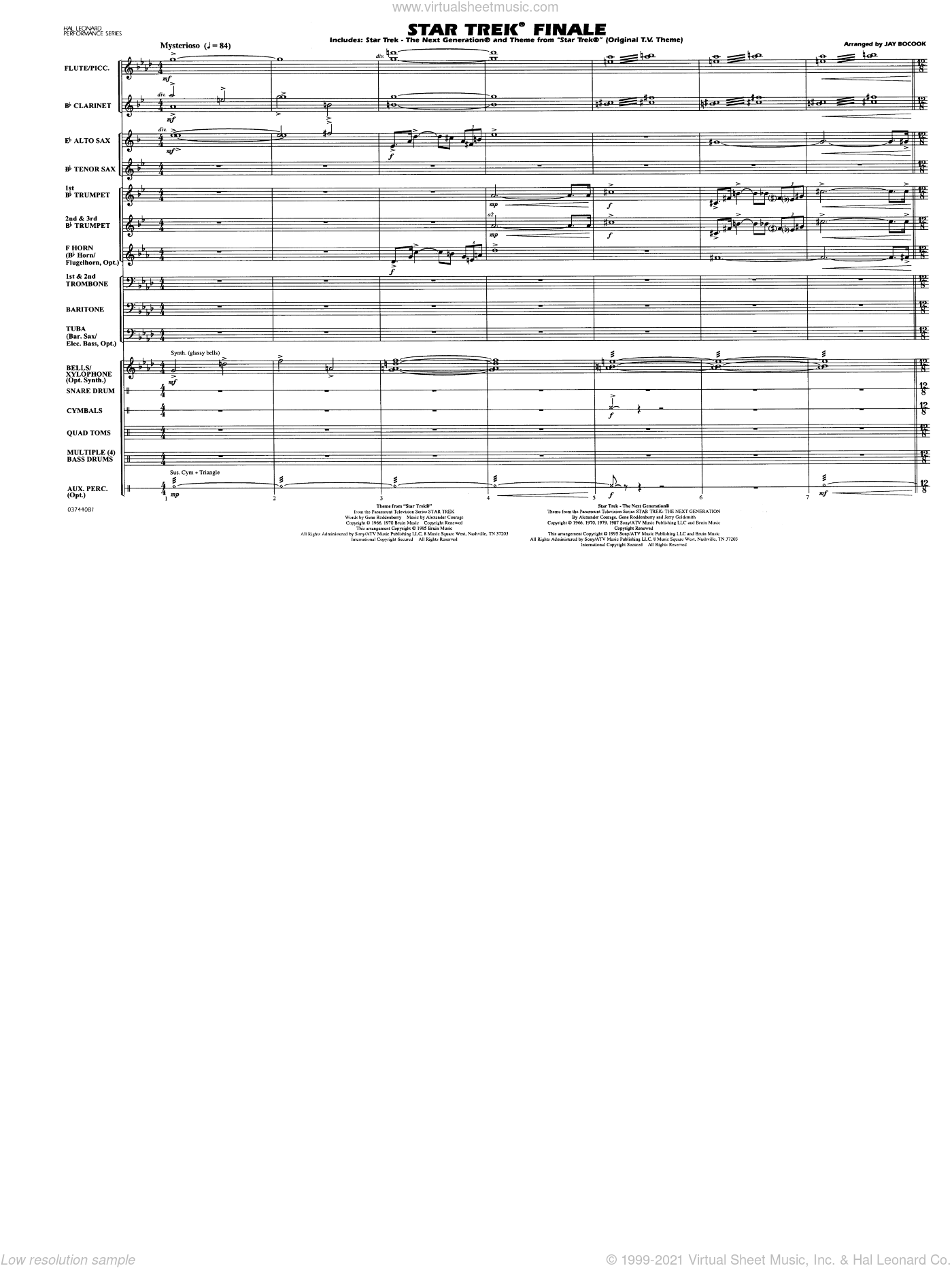 Star Trek Finale sheet music for marching band (full score) by Jay Bocook