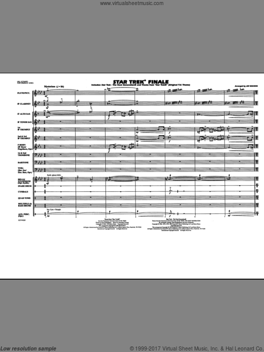Star Trek Finale (COMPLETE) sheet music for marching band by Jay Bocook