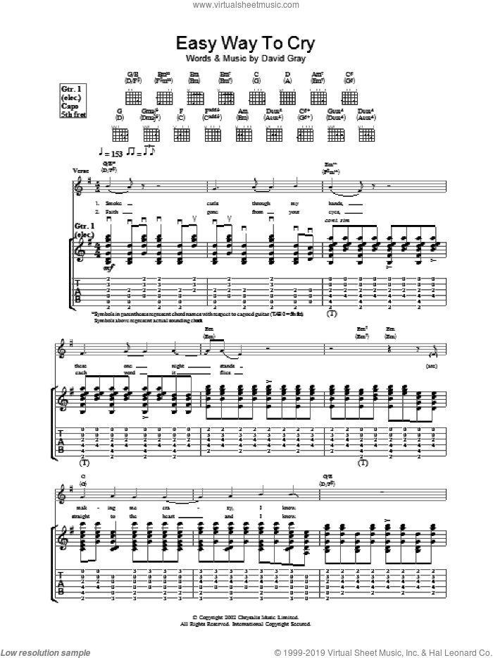 Easy Way To Cry sheet music for guitar (tablature) by David Gray, intermediate
