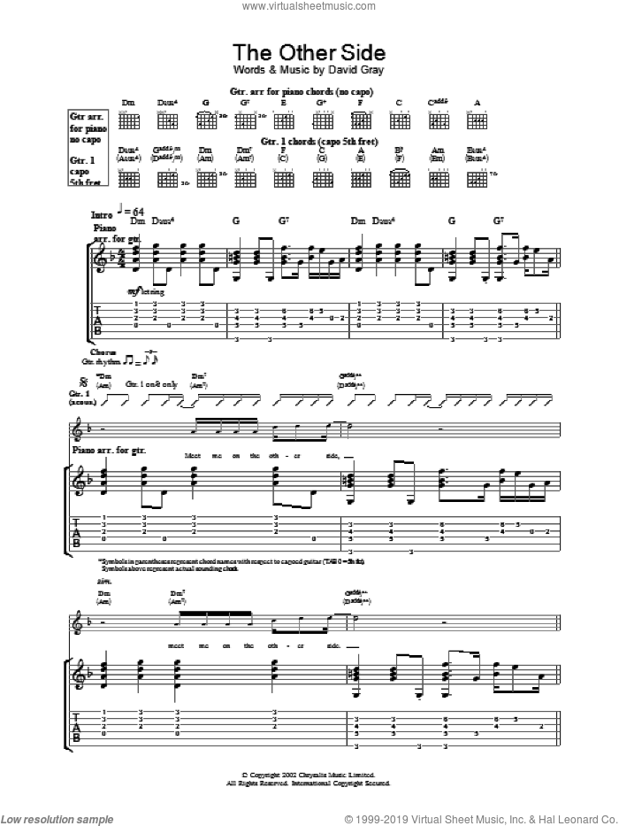The Other Side sheet music for guitar (tablature) by David Gray, intermediate skill level