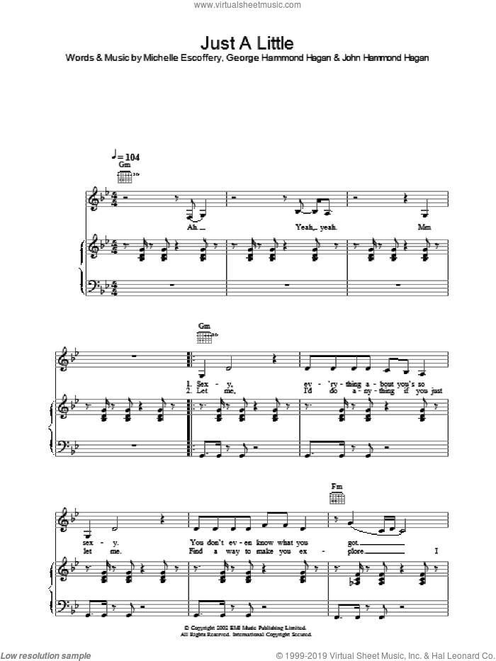 Just A Little sheet music for voice, piano or guitar by Liberty X, intermediate. Score Image Preview.