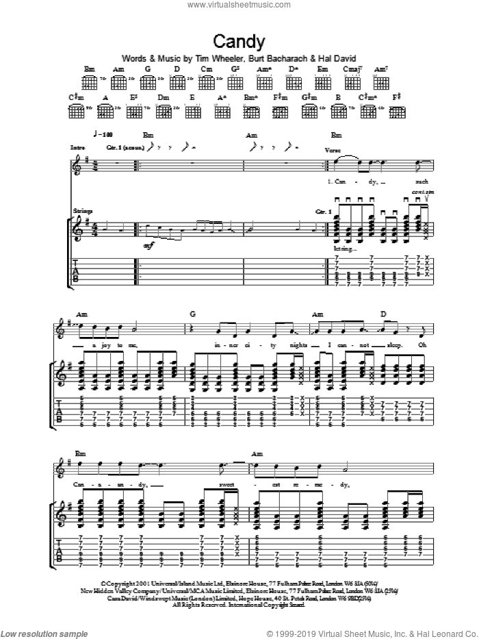 Candy sheet music for guitar (tablature) by Tim Wheeler. Score Image Preview.