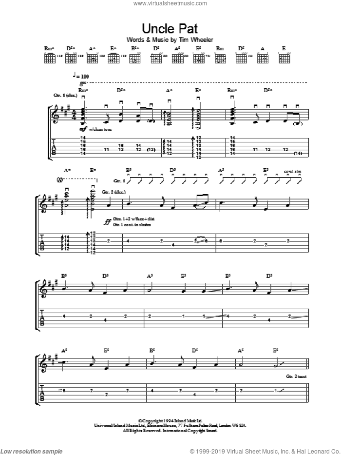 Uncle Pat sheet music for guitar (tablature) by Tim Wheeler