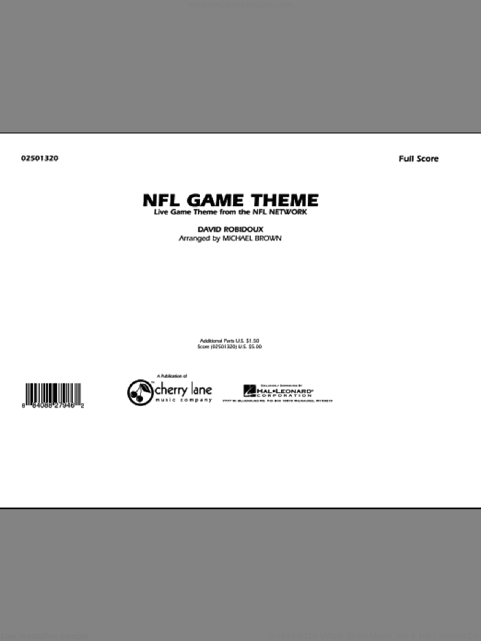 NFL Game Theme (COMPLETE) sheet music for marching band by Michael Brown and Dave Robidoux, intermediate. Score Image Preview.