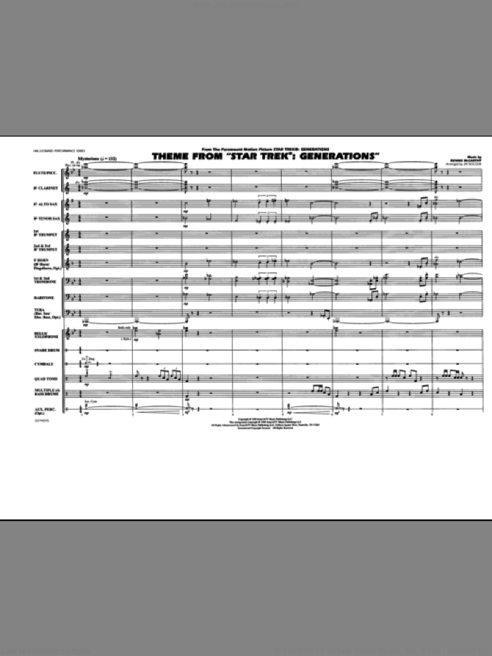 Theme from Star Trek: Generations (COMPLETE) sheet music for marching band by Dennis McCarthy and Jay Bocook, intermediate skill level