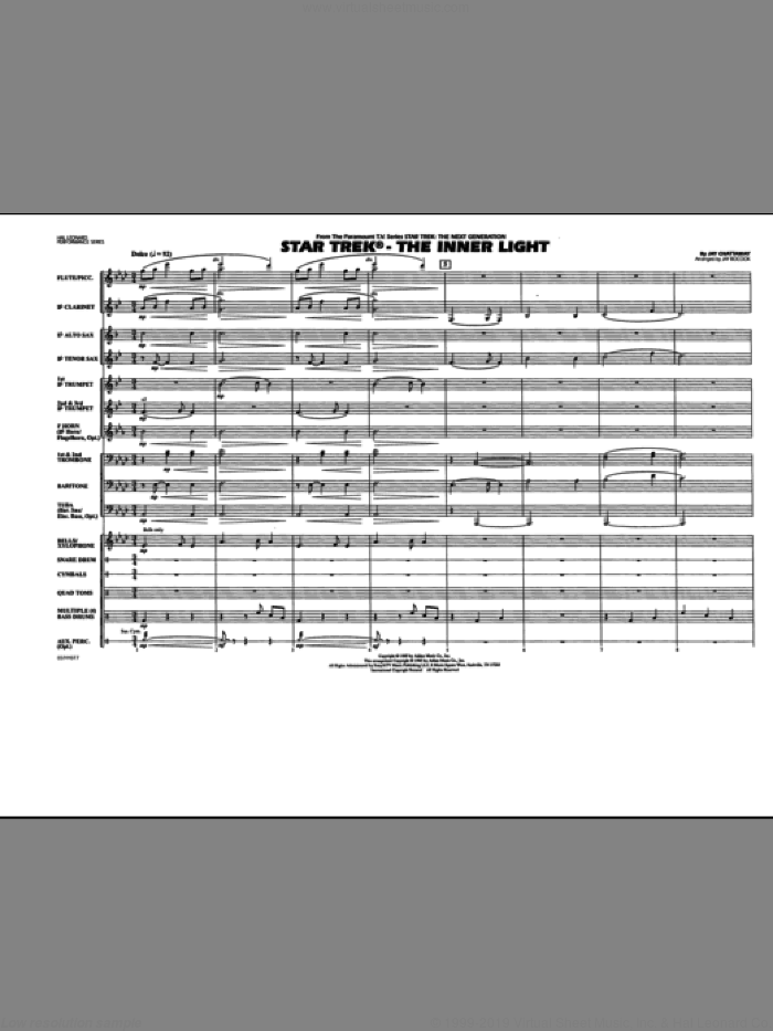Star Trek - The Inner Light (COMPLETE) sheet music for marching band by Jay Chattaway and Jay Bocook, intermediate. Score Image Preview.