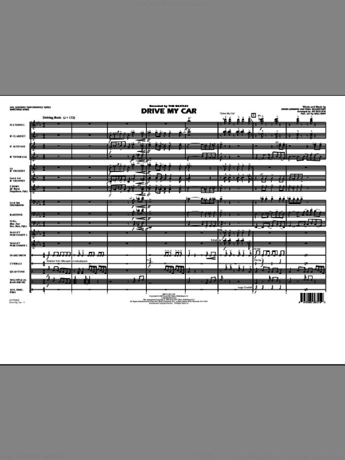 Drive My Car (COMPLETE) sheet music for marching band by John Lennon, Paul McCartney, Jay Bocook, The Beatles and Will Rapp, intermediate