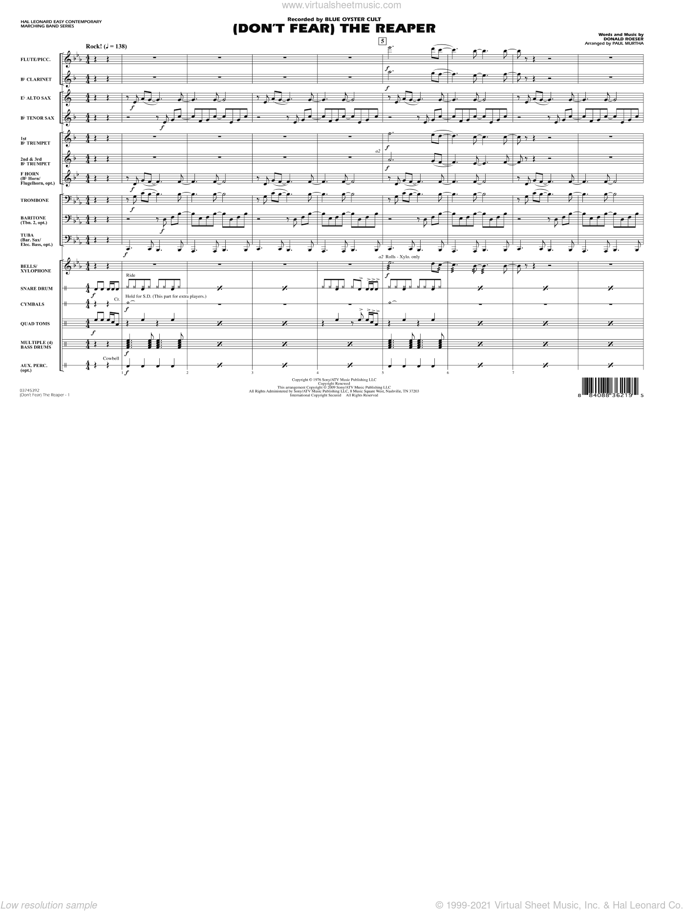 (Don't Fear) The Reaper sheet music for marching band (full score) by Donald Roeser