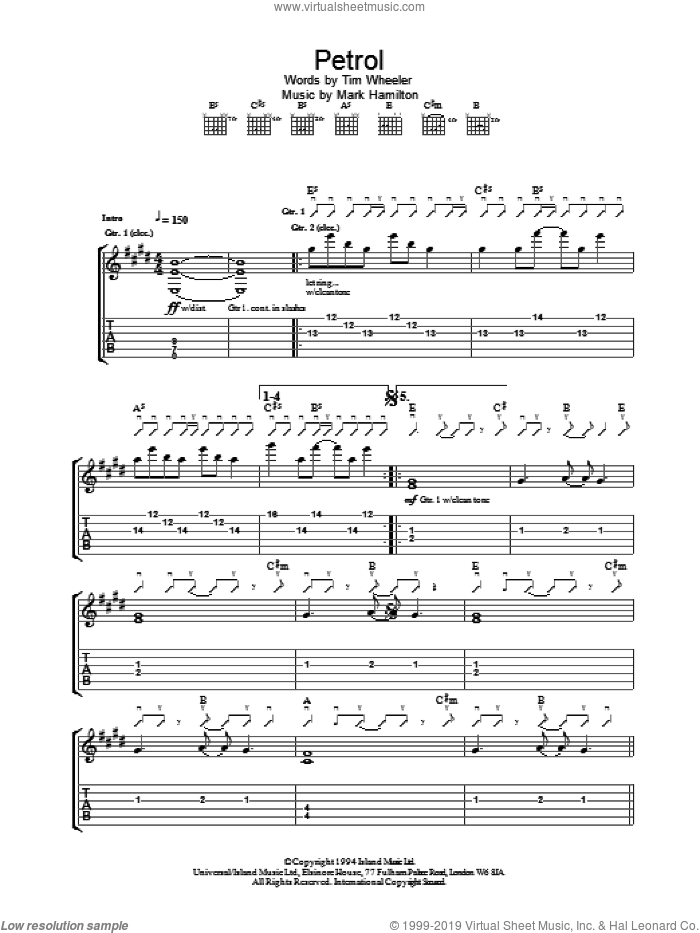 Petrol sheet music for guitar (tablature) by Tim Wheeler, intermediate skill level
