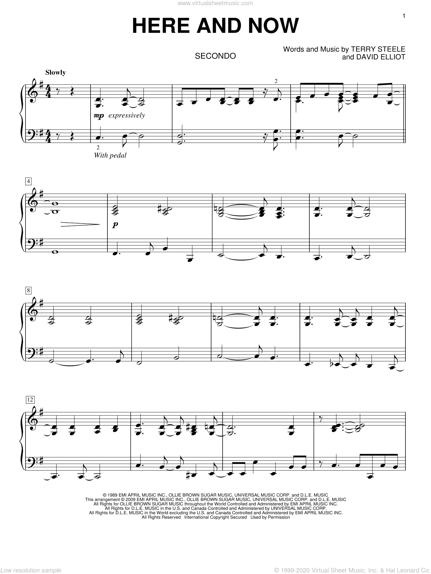 Here And Now sheet music for piano four hands (duets) by Luther Vandross, wedding score, intermediate piano four hands. Score Image Preview.