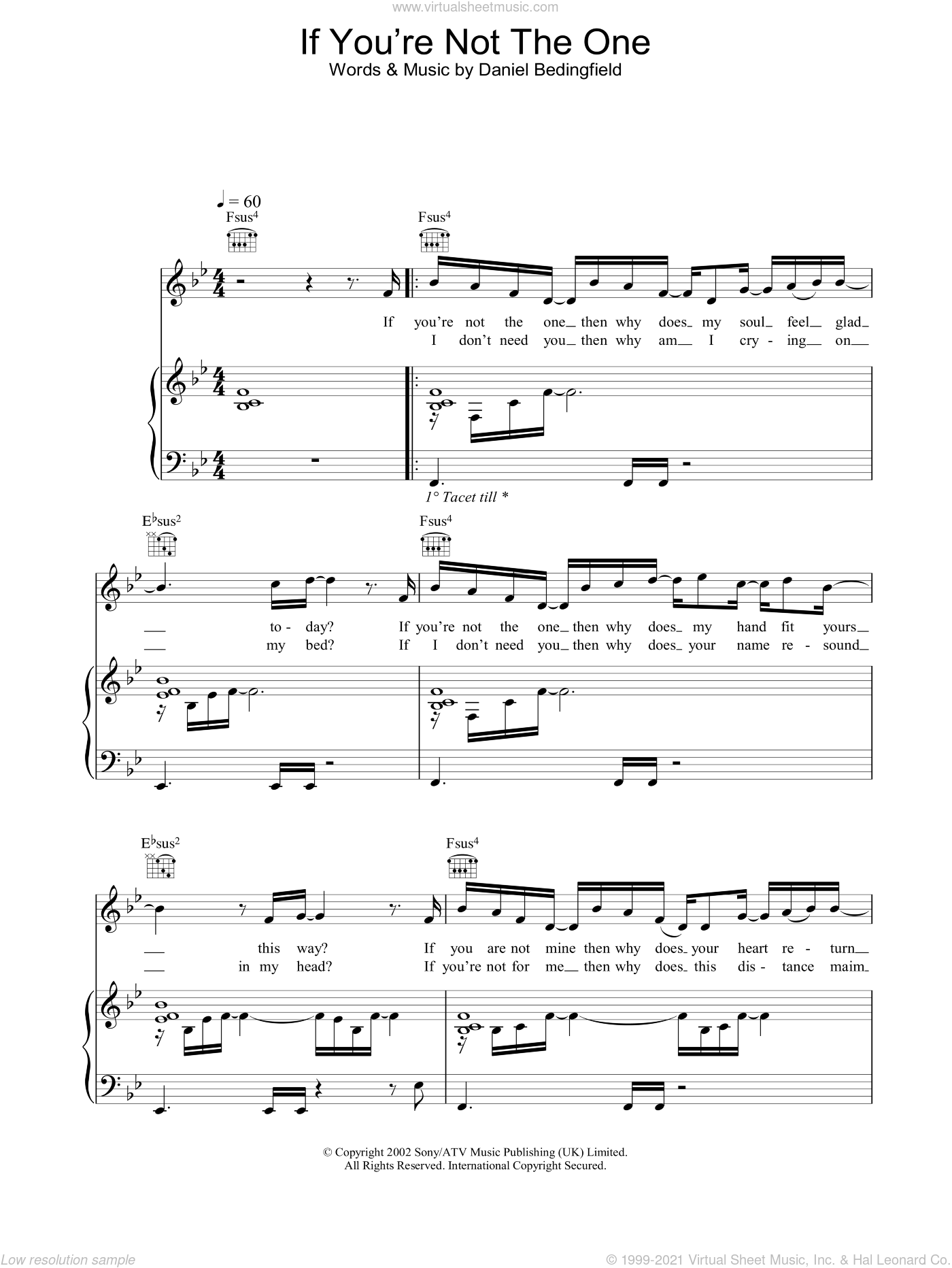 If You're Not The One sheet music for voice, piano or guitar by Daniel Bedingfield, intermediate voice, piano or guitar. Score Image Preview.