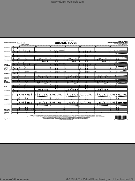 Boogie Fever (COMPLETE) sheet music for marching band by Frederick Perren