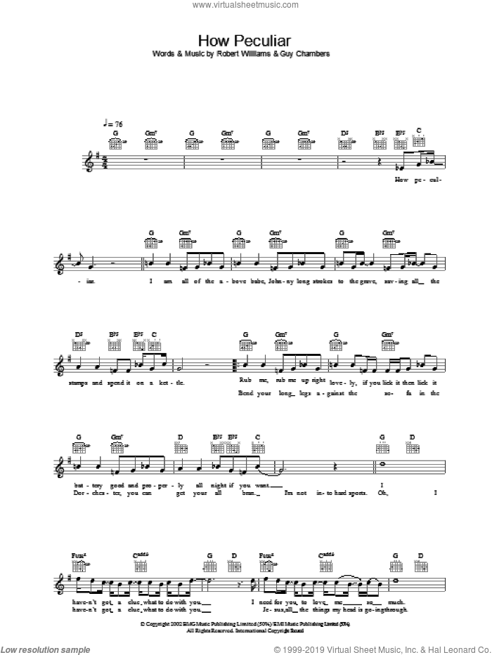 How Peculiar sheet music for voice and other instruments (fake book) by Robbie Williams, intermediate skill level