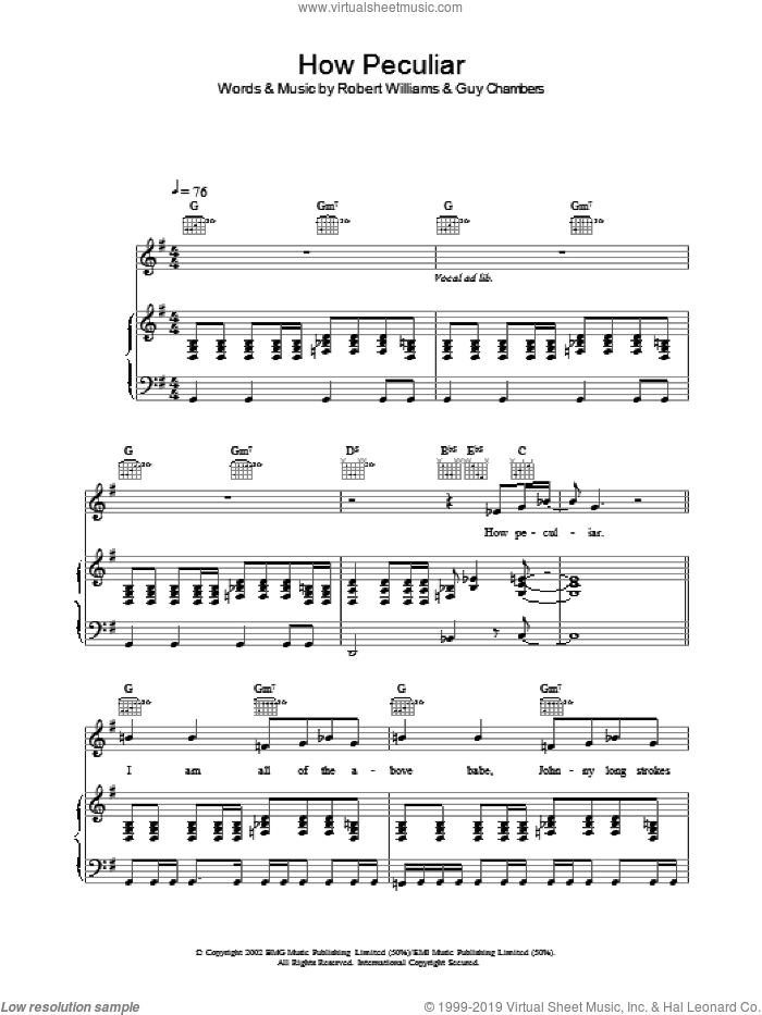 How Peculiar sheet music for voice, piano or guitar by Robbie Williams, intermediate. Score Image Preview.