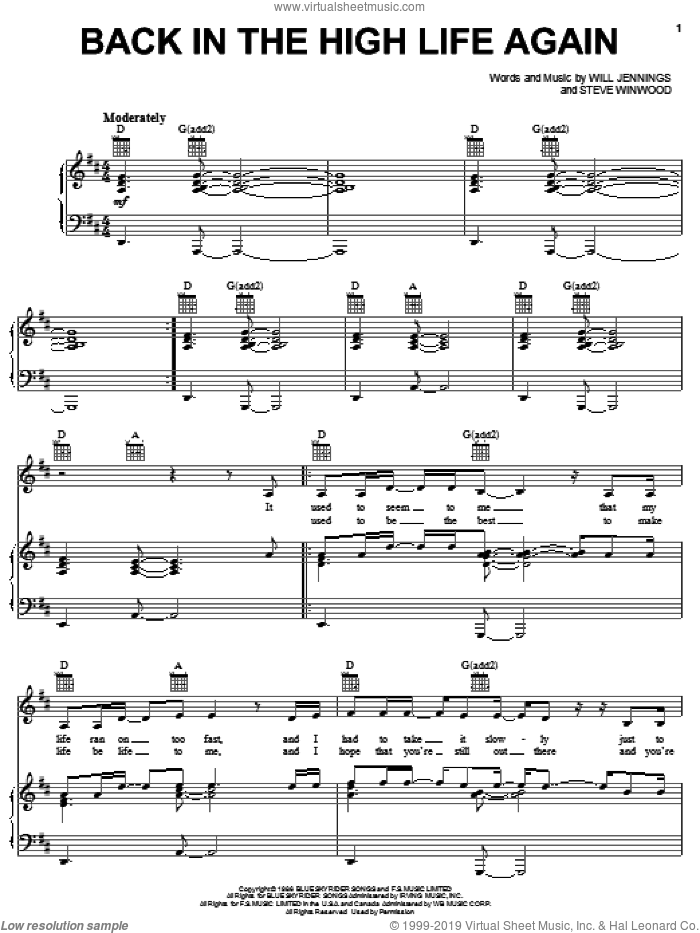 Back In The High Life Again sheet music for voice, piano or guitar by Steve Winwood and Will Jennings, intermediate skill level