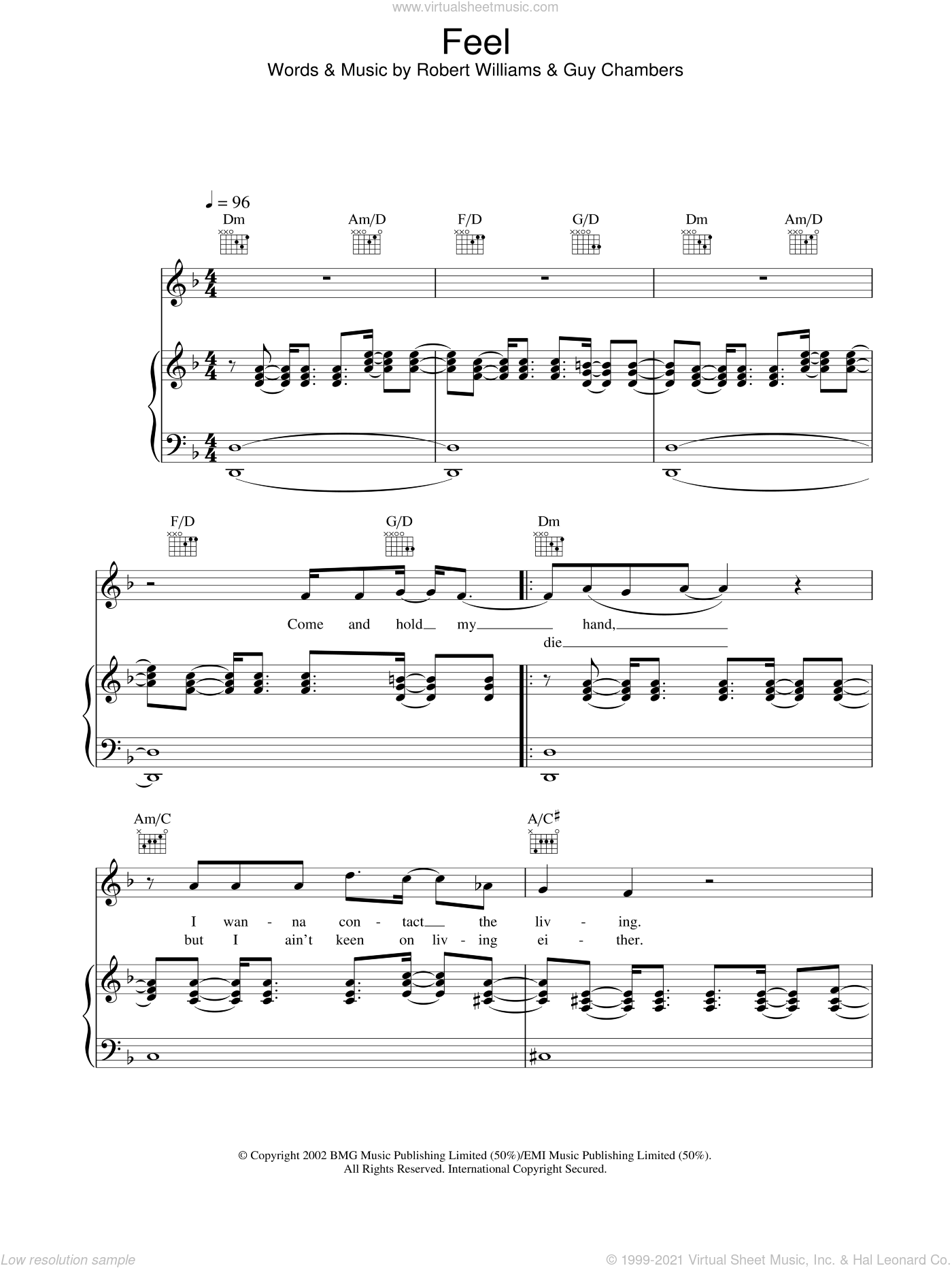 Feel sheet music for voice, piano or guitar by Robbie Williams. Score Image Preview.