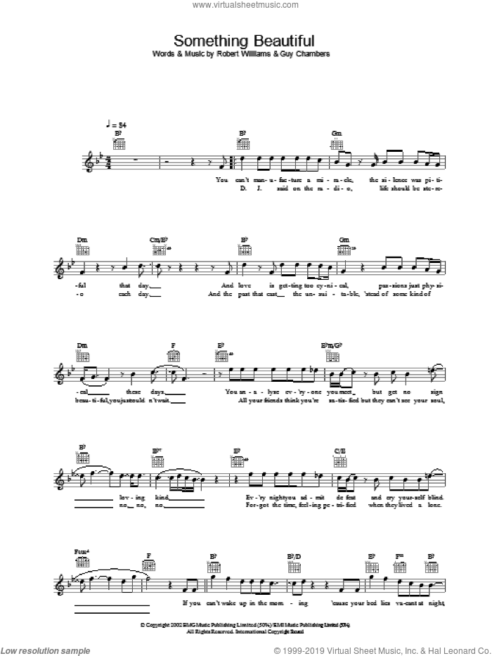 Something Beautiful sheet music for voice and other instruments (fake book) by Robbie Williams, intermediate skill level