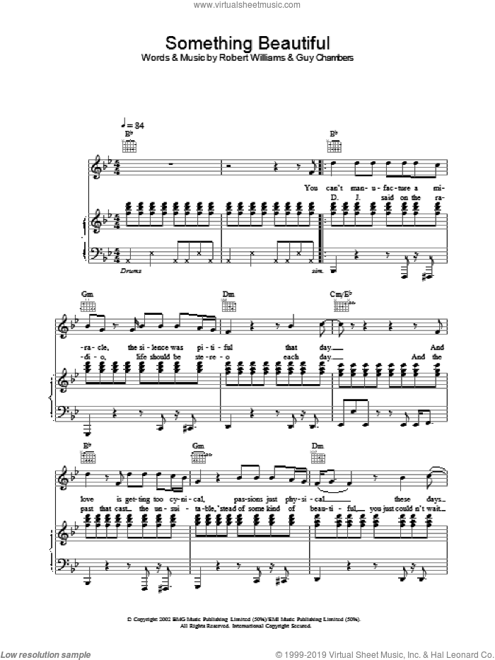 Something Beautiful sheet music for voice, piano or guitar by Robbie Williams, intermediate. Score Image Preview.