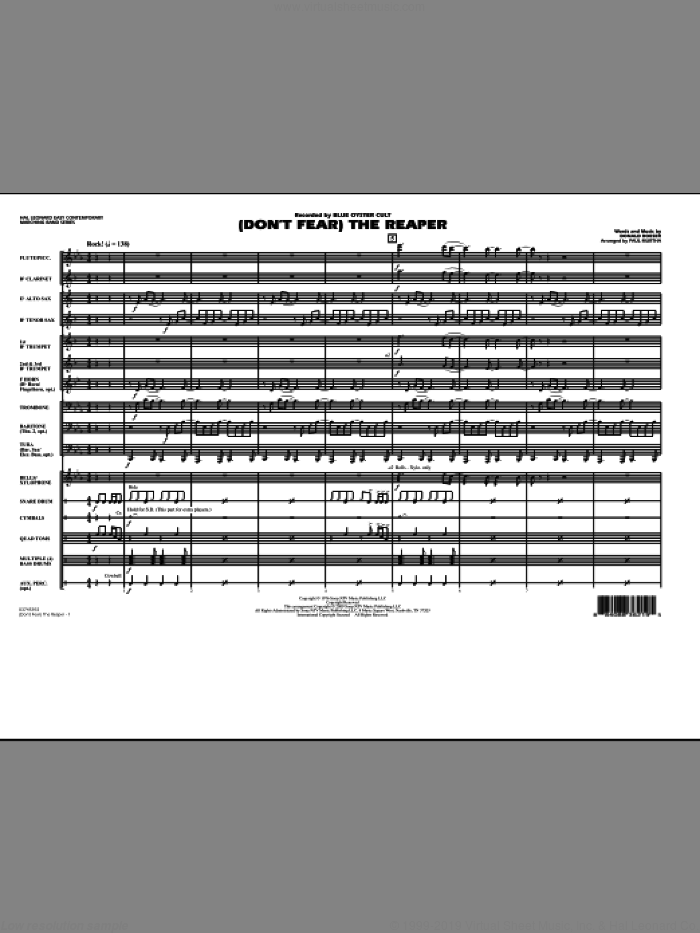 (Don't Fear) The Reaper (COMPLETE) sheet music for marching band by Paul Murtha, Donald Roeser and Blue Oyster Cult, intermediate skill level