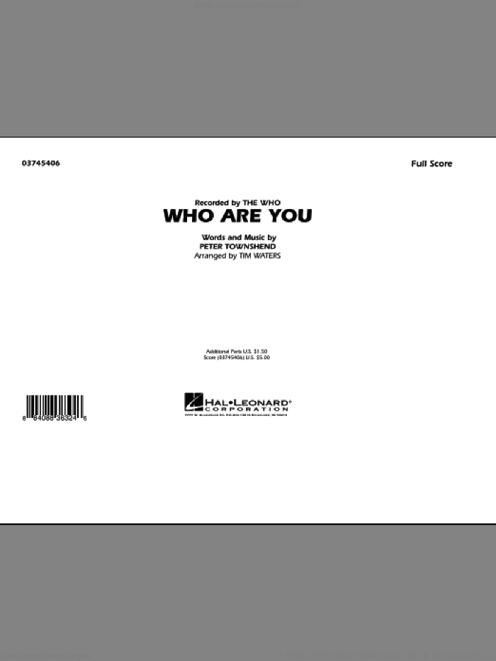 Who Are You (COMPLETE) sheet music for marching band by Tim Waters, Pete Townshend and The Who, intermediate. Score Image Preview.