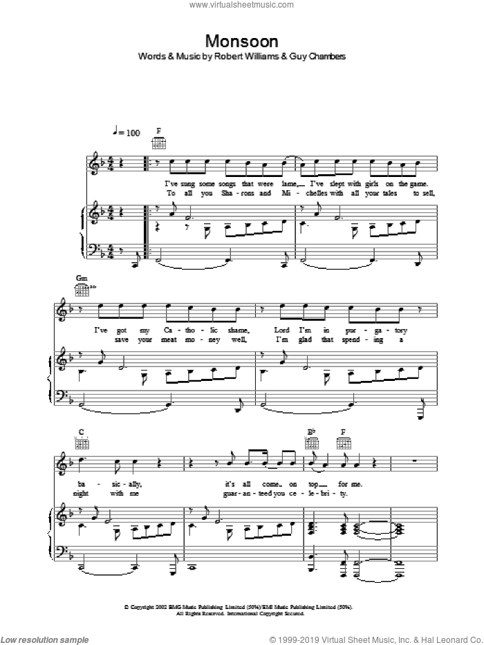 Monsoon sheet music for voice, piano or guitar by Robbie Williams, intermediate. Score Image Preview.
