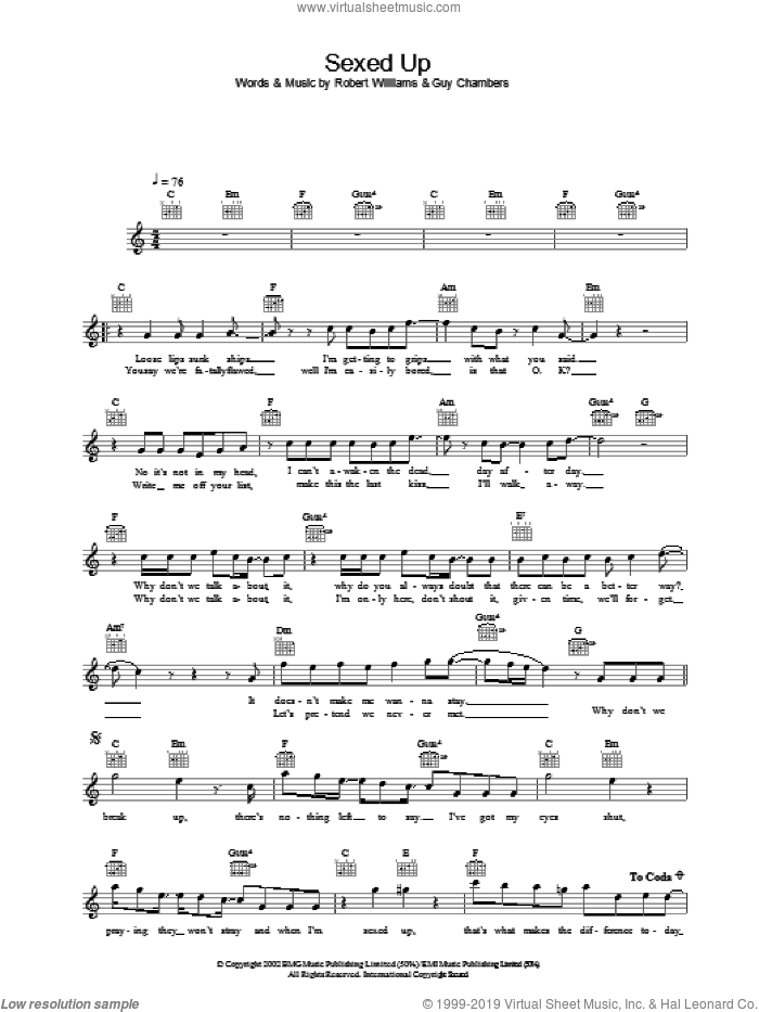 Sexed Up sheet music for voice and other instruments (fake book) by Robbie Williams, intermediate