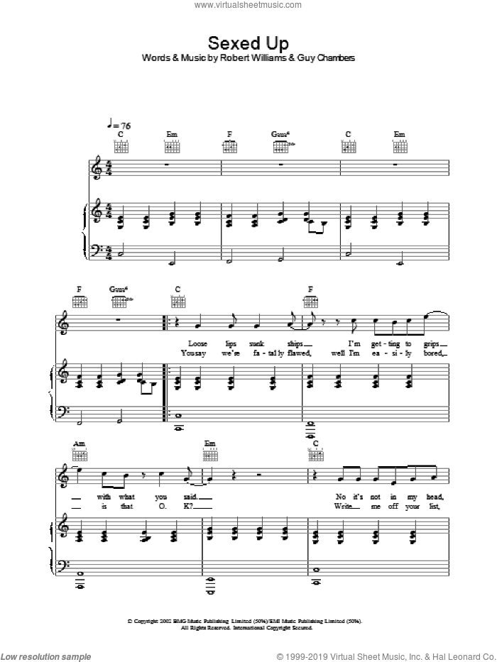 Sexed Up sheet music for voice, piano or guitar by Robbie Williams. Score Image Preview.