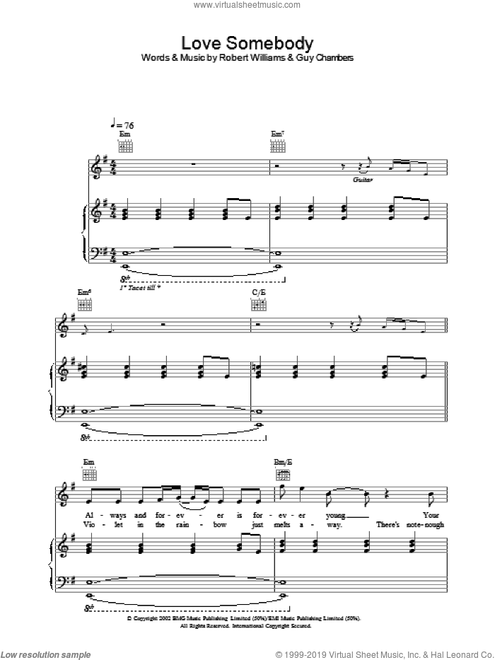 Love Somebody sheet music for voice, piano or guitar by Robbie Williams, intermediate voice, piano or guitar. Score Image Preview.