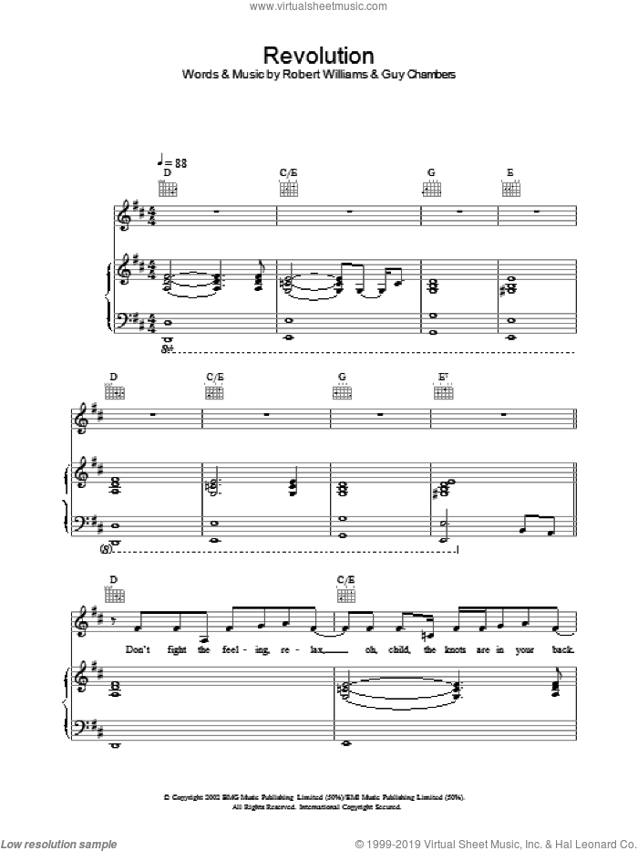 Revolution sheet music for voice, piano or guitar by Robbie Williams. Score Image Preview.