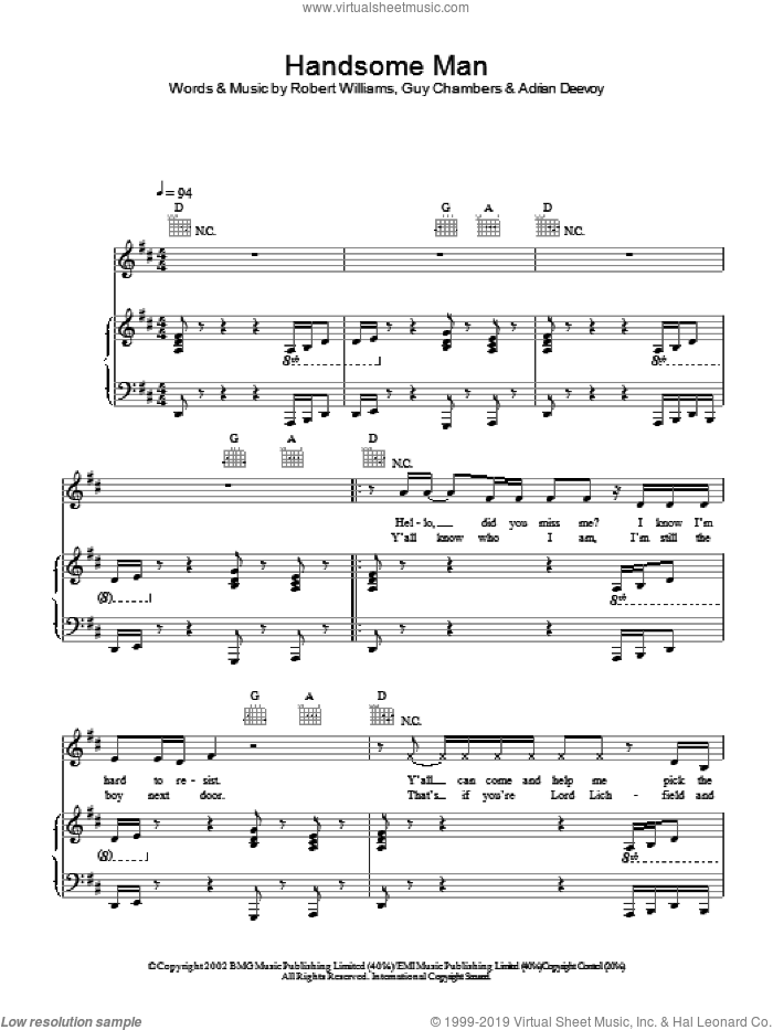 Handsome Man sheet music for voice, piano or guitar by Robbie Williams, intermediate. Score Image Preview.