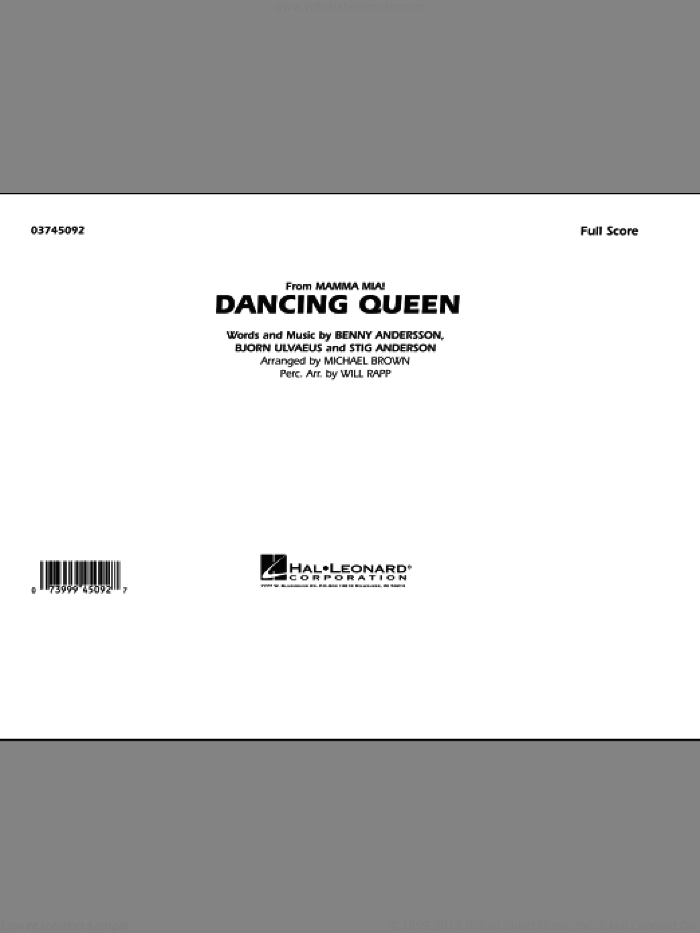 Dancing Queen (from 'Mamma Mia!') (COMPLETE) sheet music for marching band by Benny Andersson, Bjorn Alvaeus, ABBA, Michael Brown and Will Rapp, intermediate skill level