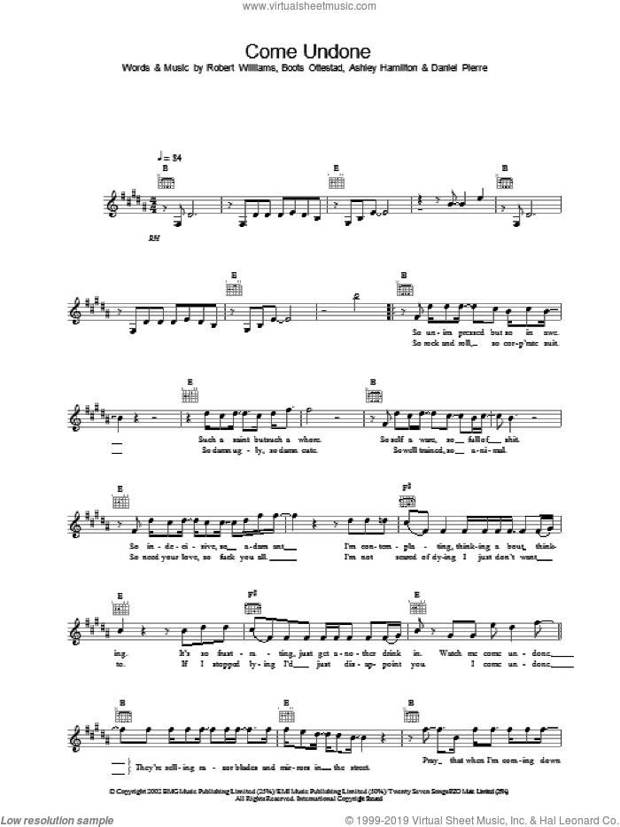 Come Undone sheet music for voice and other instruments (fake book) by Robbie Williams. Score Image Preview.