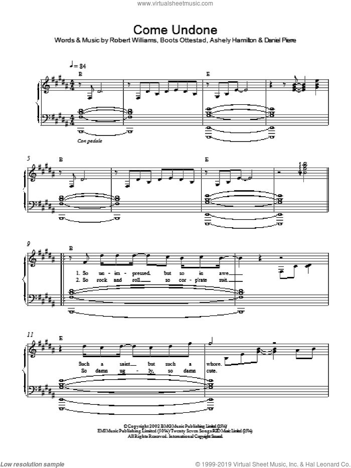 Come Undone sheet music for piano solo by Robbie Williams. Score Image Preview.