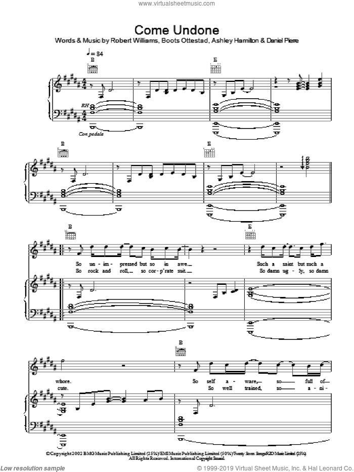 Come Undone sheet music for voice, piano or guitar by Robbie Williams, intermediate skill level