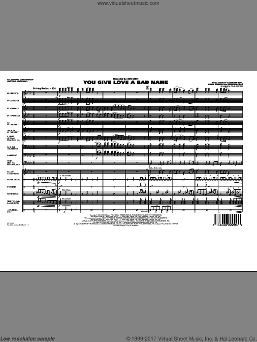 You Give Love a Bad Name (COMPLETE) sheet music for marching band by Desmond Child
