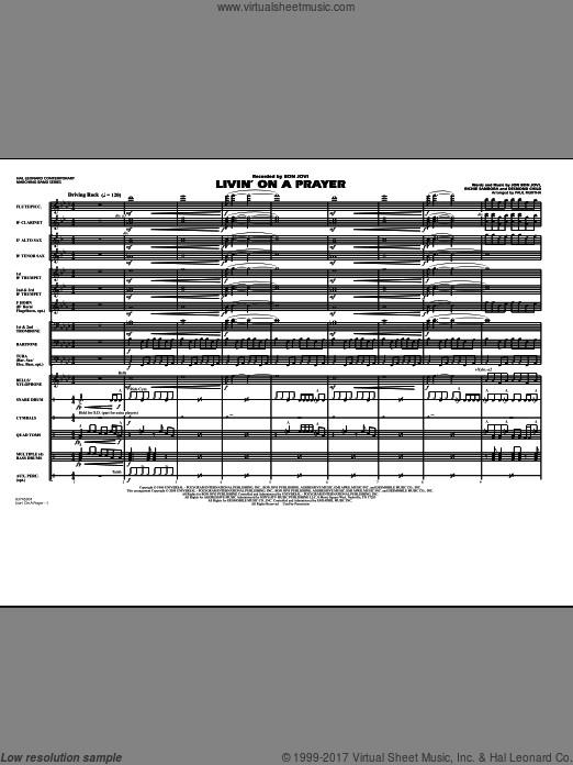 Livin' on a Prayer (COMPLETE) sheet music for marching band by Bon Jovi, Desmond Child, Richie Sambora and Paul Murtha, intermediate. Score Image Preview.