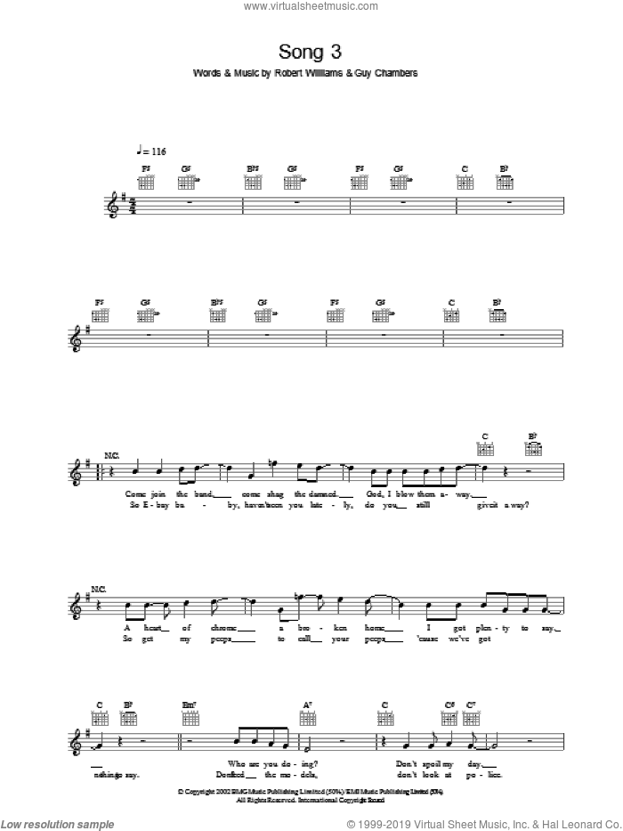 Song 3 sheet music for voice and other instruments (fake book) by Robbie Williams. Score Image Preview.