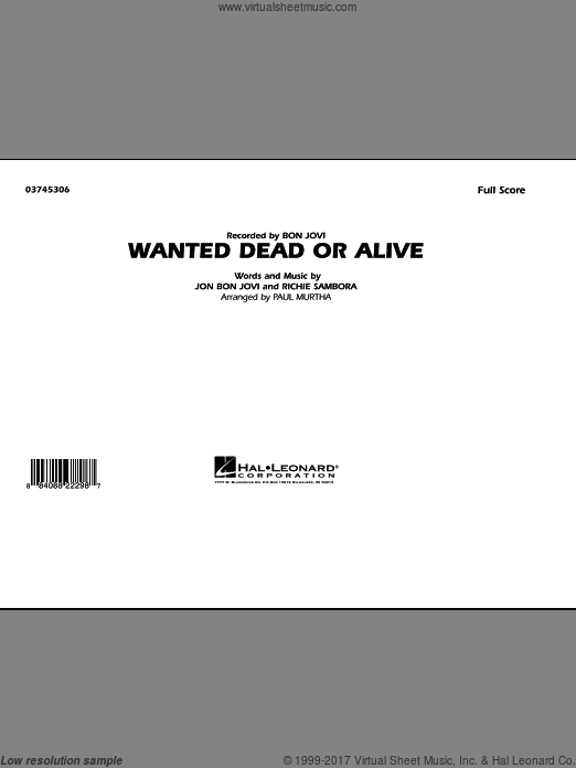 Wanted Dead or Alive (COMPLETE) sheet music for marching band by Richie Sambora