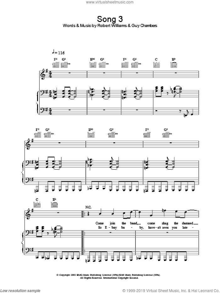 Song 3 sheet music for voice, piano or guitar by Robbie Williams, intermediate. Score Image Preview.