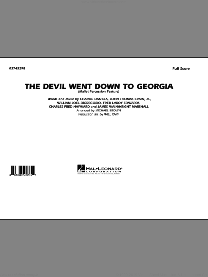 The Devil Went Down to Georgia (COMPLETE) sheet music for marching band by Michael Brown, Charlie Daniels Band and Will Rapp, intermediate skill level