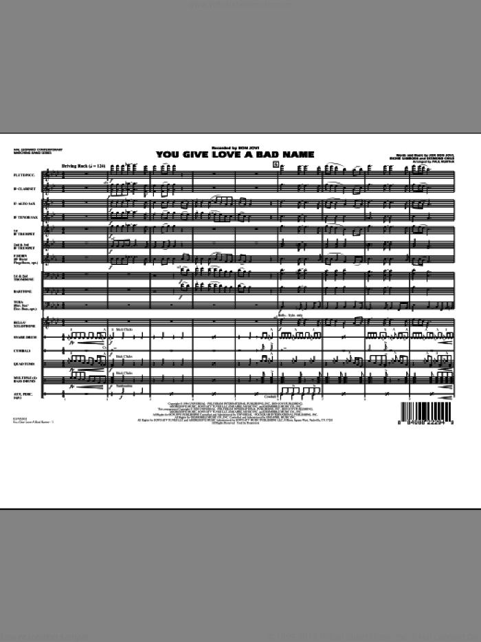 You Give Love a Bad Name (COMPLETE) sheet music for marching band by Bon Jovi, Desmond Child, Richie Sambora and Paul Murtha, intermediate marching band. Score Image Preview.