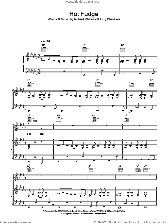 Hot Fudge sheet music for voice, piano or guitar by Robbie Williams. Score Image Preview.