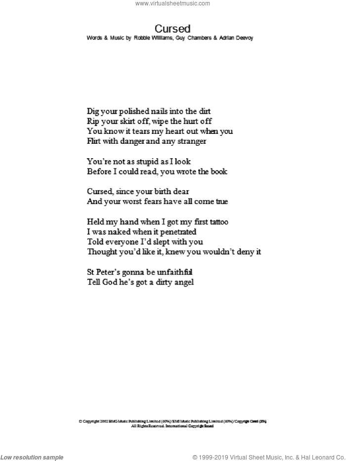 Cursed sheet music for voice and other instruments (lyrics only) by Robbie Williams, intermediate skill level