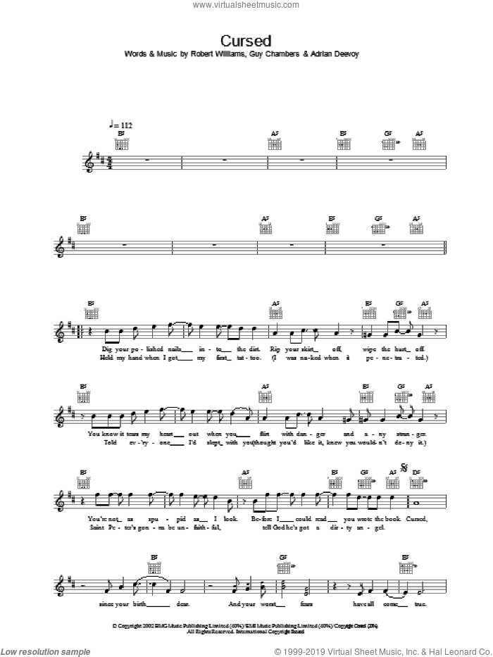 Cursed sheet music for voice and other instruments (fake book) by Robbie Williams
